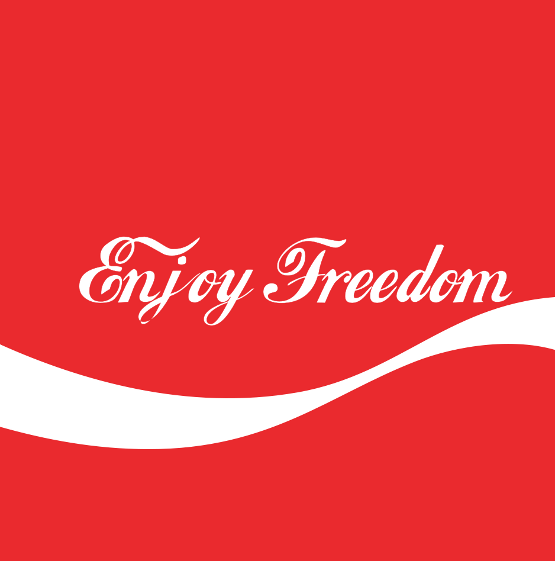 Enjoy Freedom, based on Coca-Cola's logo