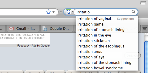 Firefox 3 Google Search Suggestions for