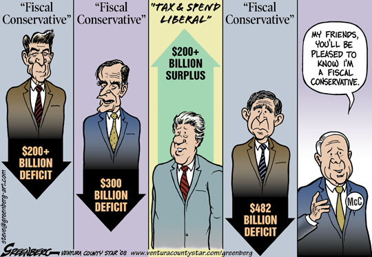 Recent US presidents and their multi hundred billion dollar deficits (except Clinton's 200+ billion surplus). Political cartoon by Steve Greenberg, published in Ventura County Star 2008-08-03.