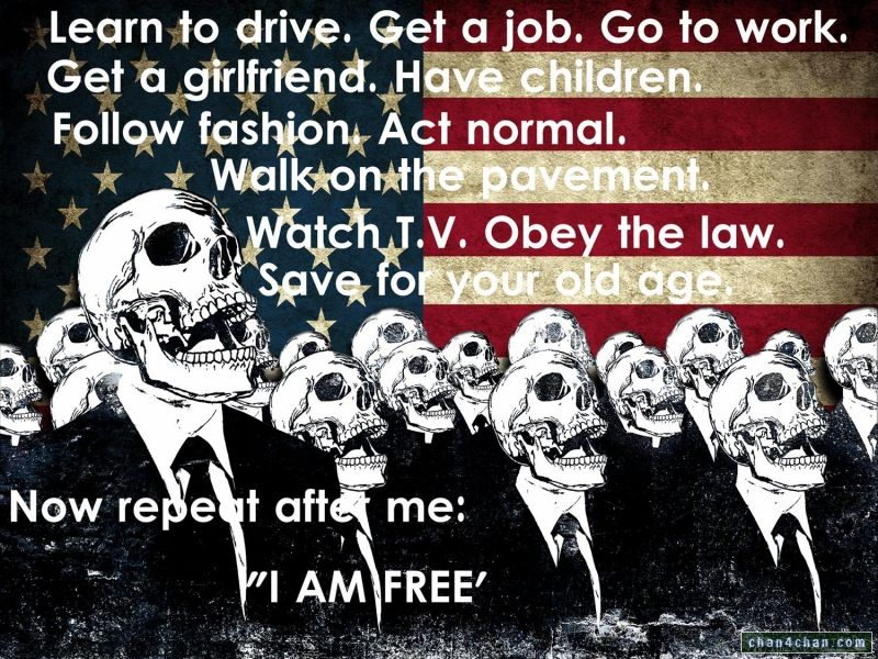 Learn to drive. Get a job. Go to work. Get a girlfriend. Have children. Follow fashion. Act normal. Walk on the pavement. Watch T.V.. Obey the law. Save for your old age. Now repeat after me: 'I AM FREE'