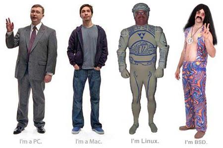I'm a PC, I'm a Mac, I'm Linux, I'm BSD (Hippie)