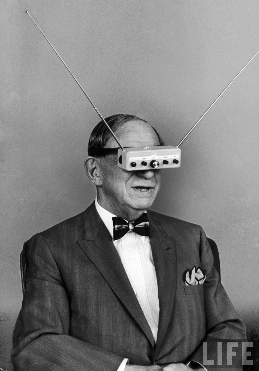 LIFE photo: Hugo Gernsback Wearing TV Glasses
