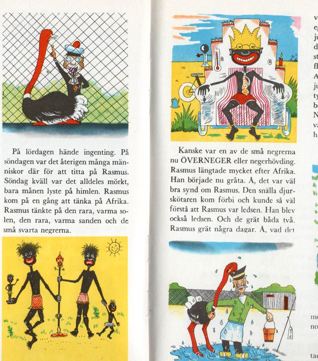 """Strutsen Rasmus (som sitter i Zoo-fångenskap) funderar på om något av barnen i Afrika blivit ÖVERNEGER, negerhövding. Ur sagoantologin """"BARNDOMSLANDET tripp trapp trull"""", Bonniers 1963."""