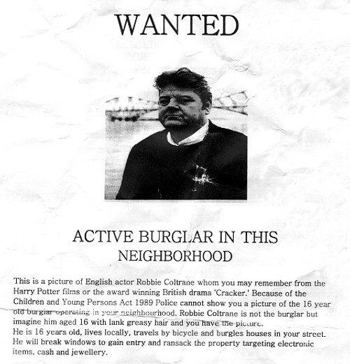 Actor Robbie Coltrane used as placeholder on NZ wanted poster announcing teenaged burglar