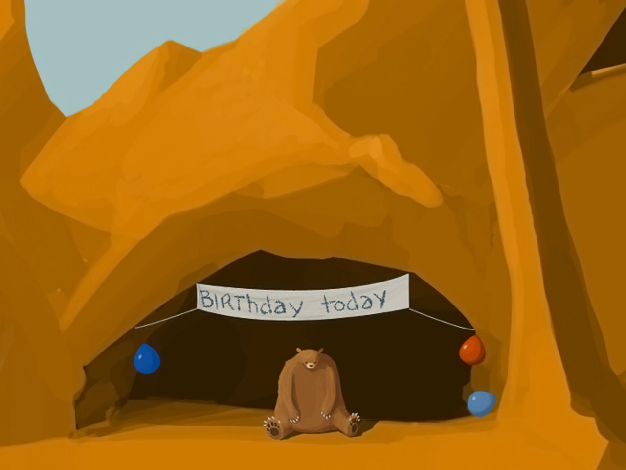 lonely sad bear birthday cave